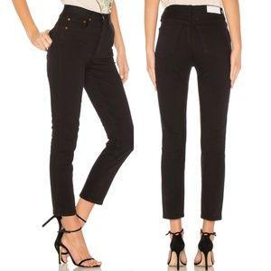 RE/DONE Black Originals Double Needle Crop Jeans